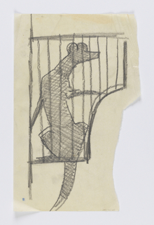 Design for a signpost to be executed in iron for the Central Park Zoo. On a bracket, a figure of a weasel within a cage, the animal's tail hanging below.