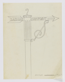 "Design for signpost to be executed in iron. Atop the post, an arrow pointing right with the words ""LADIES COMFORT"" inscribed horizontally. An ornamental bracket connects the arrow to the post."
