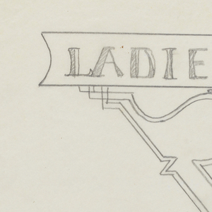 """Design for Ladies Restroom signpost to be executed in iron, the panel containing the word """"LADIES"""" connected to the post by a ornamental bracket."""