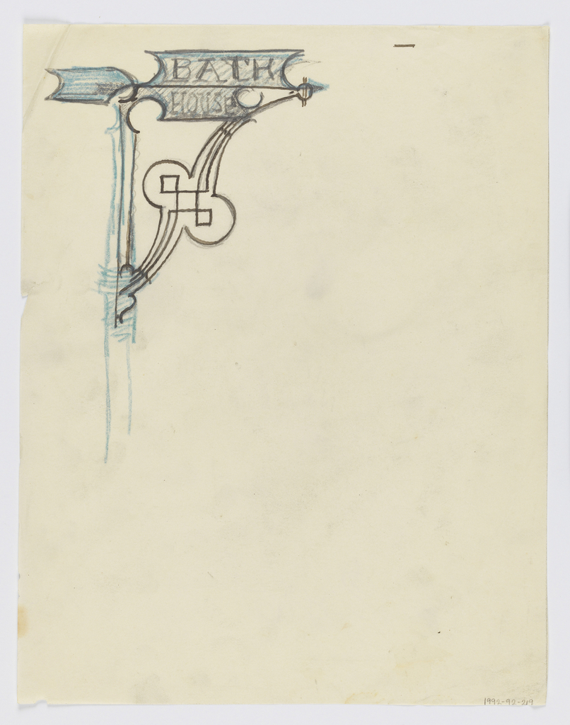 """Design for signpost to be executed in iron, the panel with the words """"BATH / HOUSE"""" and an arrow pointing right connected to the post by an ornamental bracket."""