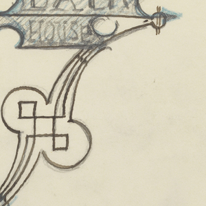 "Design for signpost to be executed in iron, the panel with the words ""BATH / HOUSE"" and an arrow pointing right connected to the post by an ornamental bracket."