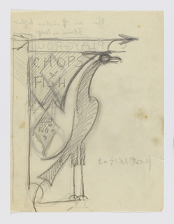 Design for a signpost to be executed in iron. A bird with a long neck facing right, an arrow above pointing right. At left, a sign panel with the inscription: CHOPS / & / FISH; additional signpost design on verso.