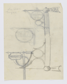 """Designs for signposts to be executed in iron, each with arrows pointing right and the word """"RESTAURANT"""" within a circular or rectangular sign panel. Design at upper left also contains the word """"LADIES"""" at the rear of the arrow."""