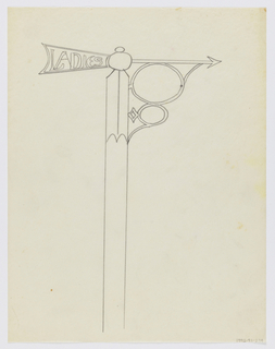 "Design for signpost to be executed in iron. An arrow mounted to the post pointing right, the rear of which contains the inscription ""LADIES,"" the arrow connected to the post by an ornamental bracket."