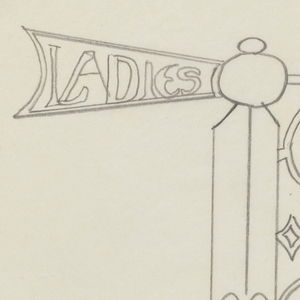 """Design for signpost to be executed in iron. An arrow mounted to the post pointing right, the rear of which contains the inscription """"LADIES,"""" the arrow connected to the post by an ornamental bracket."""