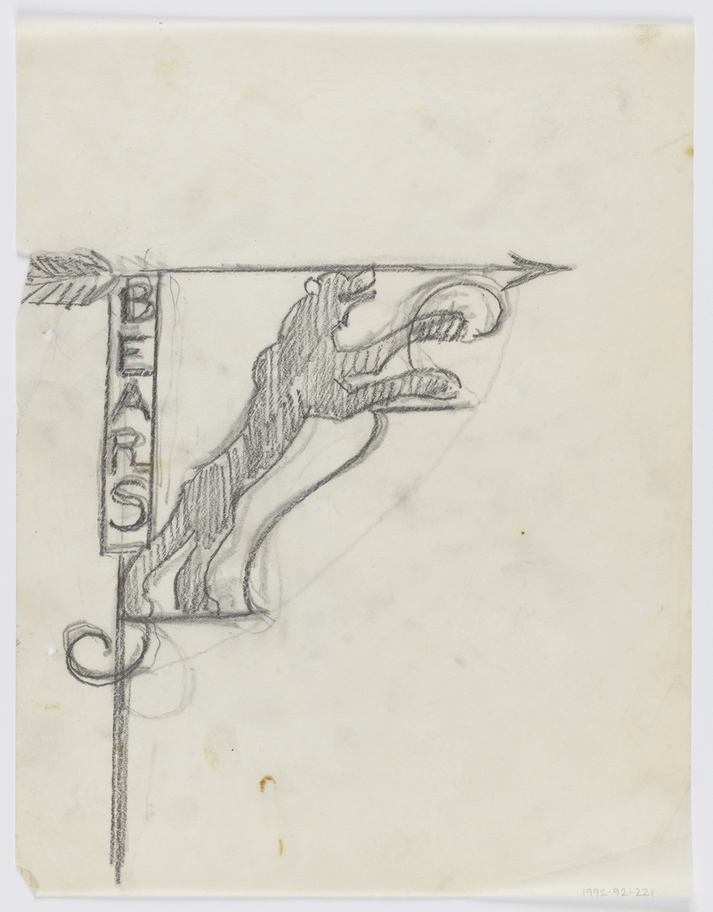 """Design for signpost to be executed in iron. Upon the post, a panel with the word """"BEARS"""" inscribed vertically connected to an arrow pointing right. A standing bear forms the bracket."""