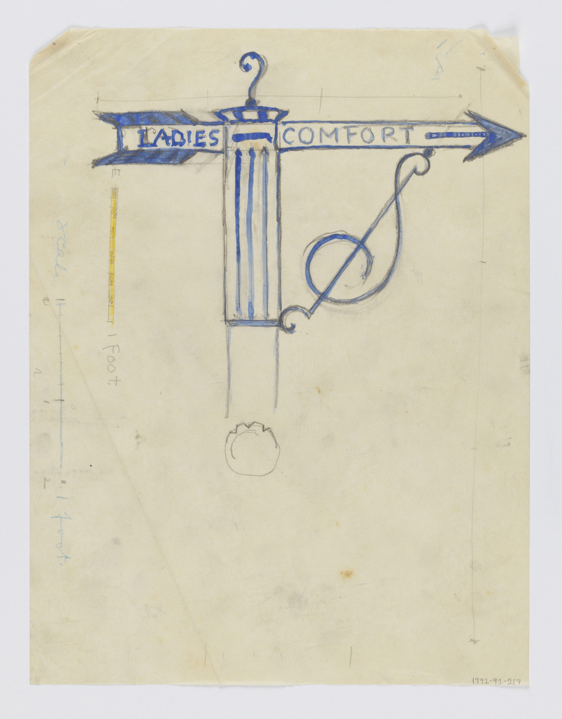"""Design for Ladies Restroom signpost to be executed in iron, an arrow pointing right with the words """"LADIES COMFORT,"""" the sign panel connected to the post by a curving ornamental bracket. Scale drawn on left margin of sheet."""