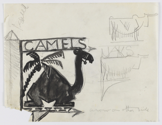 Design for signpost to be executed in iron. At left, a sign for camels, a seated one-humped camel facing right with a palm tree behind it. At right, two sketches of signs for yaks.
