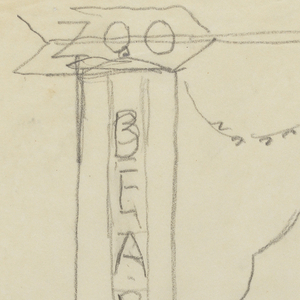 """Design for a signpost to be executed in iron. Upon the post, the word """"BEARS"""" written vertically, above which is an arrow pointing right with the word """"ZOO."""" Connecting the elements is a standing bear."""