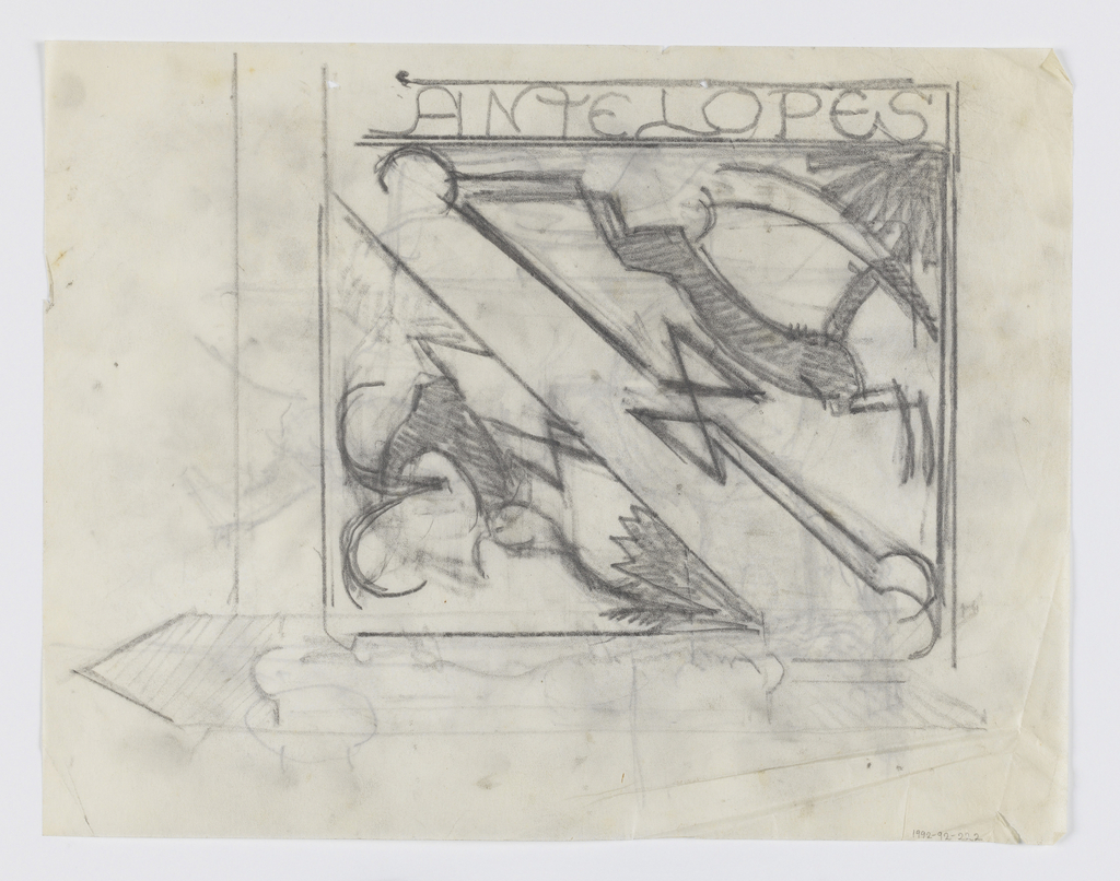 """Design for signpost to be executed in iron. Two options with figures of antelopes within the brackets, the word """"ANTELOPES"""" at upper center."""