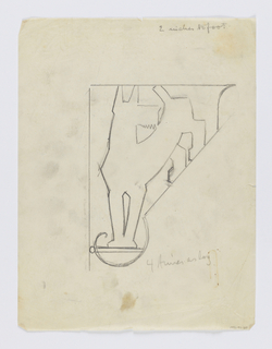 Design for a signpost to be executed in iron. Within the bracket, figure of a dog standing on two legs.