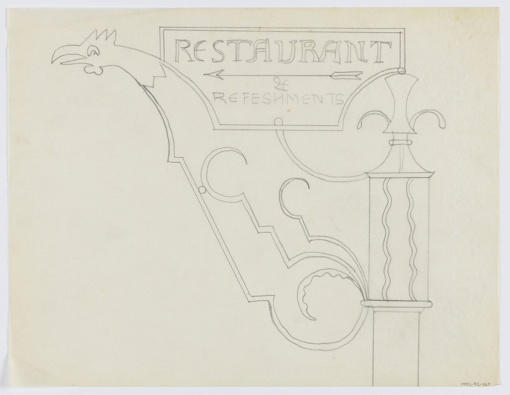 Design for a signpost to be executed in iron. Upon the post, a stylized rooster neck, a panel above bearing text with an arrow pointing left: RESTAURANT / & / REFESHMENTS [sic]