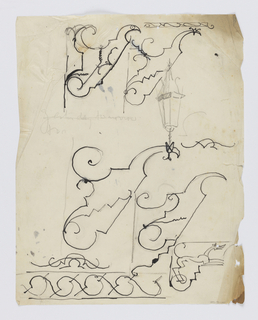 Various designs or studies for brackets to be executed in iron, many depicting a stylized bird, and one depicting a hound at lower right. At lower left, a stylized geometric border. At upper right, a sketch in graphite of a lantern.