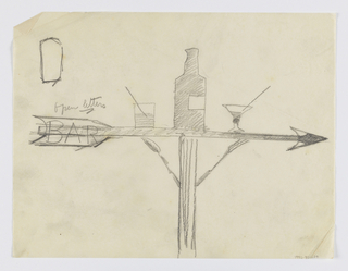 "Design for bar signpost to be executed in iron. Upon an arrow pointing right, a bottle of liquor and two cocktails, a martini at right. At left, upon the arrow's feathers, the word ""BAR."""