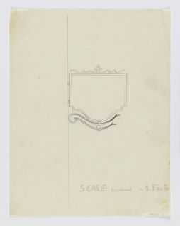 "Design for signpost to be executed in iron, a blank panel mounted to an ornamental curving bracket. ""SCALE = / FOOT"" is outlined on lower right."