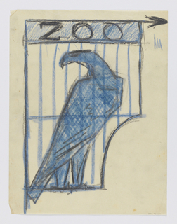 "Design for a signpost to be executed in iron. An eagle within a cage, the word ""ZOO"" inscribed above with an arrow pointing right."
