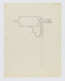 Design for signpost to be executed in iron, a blank sign panel with an arrow pointing left connected to the post by an ornamental bracket.