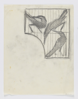 Design for signpost to be executed in iron. Within a curving panel, three figures of birds with long beaks in different positions contained within a cage.