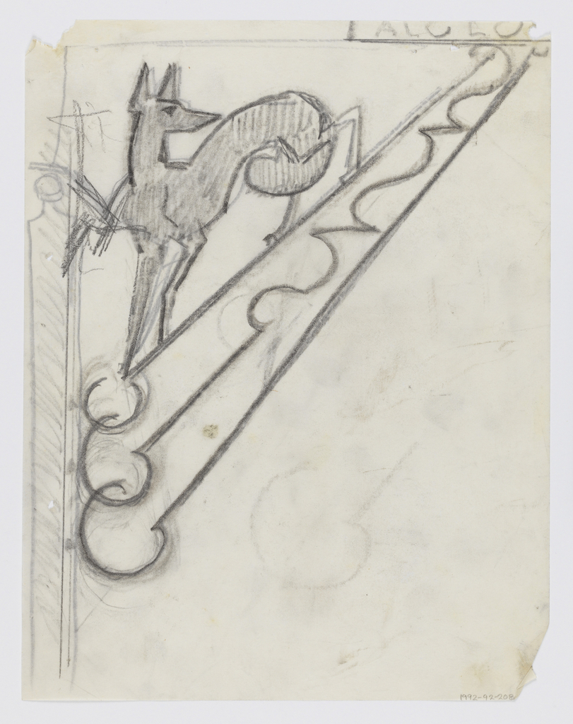 Design for signpost to be executed in iron. Within a bracket, a figure of a fox with a curving tail.