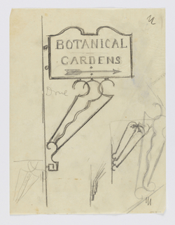 "Design for a signpost to be executed in iron, the sign panel made of curving forms at top contains the words ""BOTANICAL / GARDENS"" and an arrow pointing right; connected to the wall or post via a stylized bracket. Additional sketches for the bracket designs throughout sheet."