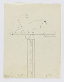 "Design for signpost to be executed in iron, the words ""BOTANICAL GARDENS"" partially visible and inscribed vertically on signpost. Upon the post, an arrow pointing left with two eagles perched upon it."