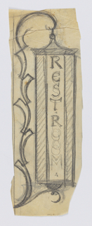 "Design for a signpost for the Central Park Zoo to be executed in iron. A layered bracket composed of organic forms connects to a sign panel, likely also a lantern, with the text ""RESTROOM"" inscribed vertically."