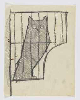 Design for a signpost to be executed in iron. A figure of an owl depicted within a cage, the bird's eyes closed.