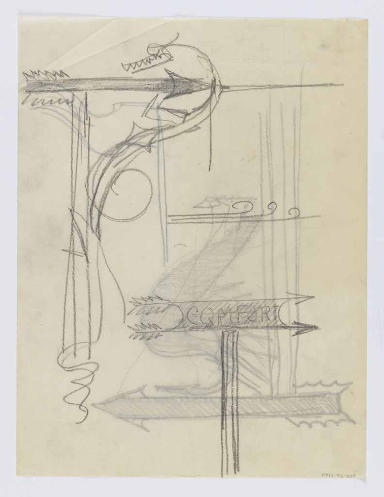 "Design for signposts to be executed in iron. At upper left, a signpost with arrow pointing right, a sketch of a dragon-like figure across the form. At lower right, a simple signpost pointing right with the word ""COMFORT."" Additional designs on verso."