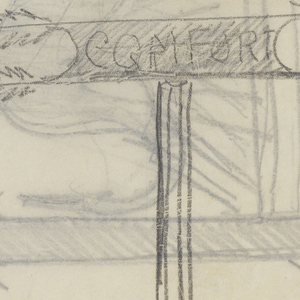 """Design for signposts to be executed in iron. At upper left, a signpost with arrow pointing right, a sketch of a dragon-like figure across the form. At lower right, a simple signpost pointing right with the word """"COMFORT."""" Additional designs on verso."""