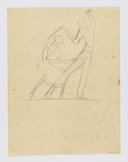 Sketch of two figures at play, each holding a wand or bat. A woman crouches at left, a man stands at right with his arms raised.