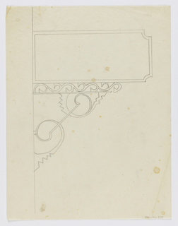 Design for signpost to be executed in iron, a blank panel connected to the wall by an ornamental bracket.
