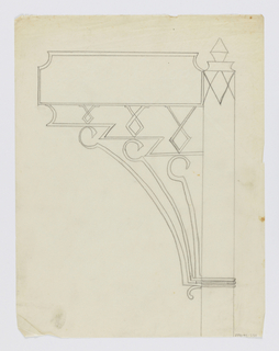 Design for signpost to be executed in iron, the blank sign panel connected to the post by an ornamental bracket.
