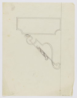 Design for signpost to be executed in iron; a blank panel mounted to an ornamental bracket.