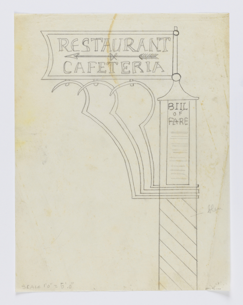 """Design for a signpost for the Central Park Zoo to be executed in iron. The base of the post decorated with diagonal stripes, a sign at top reads """"BILL / OF / FARE"""". Sign panel connected to the post with elaborate curving brackets. Upon the sign, an arrow pointing left and the words """"RESTAURANT / & / CAFETERIA""""."""