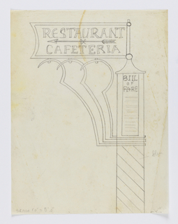 "Design for a signpost for the Central Park Zoo to be executed in iron. The base of the post decorated with diagonal stripes, a sign at top reads ""BILL / OF / FARE"". Sign panel connected to the post with elaborate curving brackets. Upon the sign, an arrow pointing left and the words ""RESTAURANT / & / CAFETERIA""."