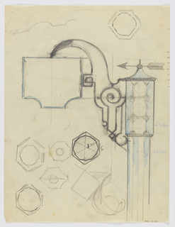 Design for a signpost with lantern to be executed in iron. The lamp at the top of the post with mosaic-like glass geometric panels; an arrow above pointing left. Attached to the lantern via an elaborate bracket is a blank hanging signpost. Additional detail sketches throughout sheet.