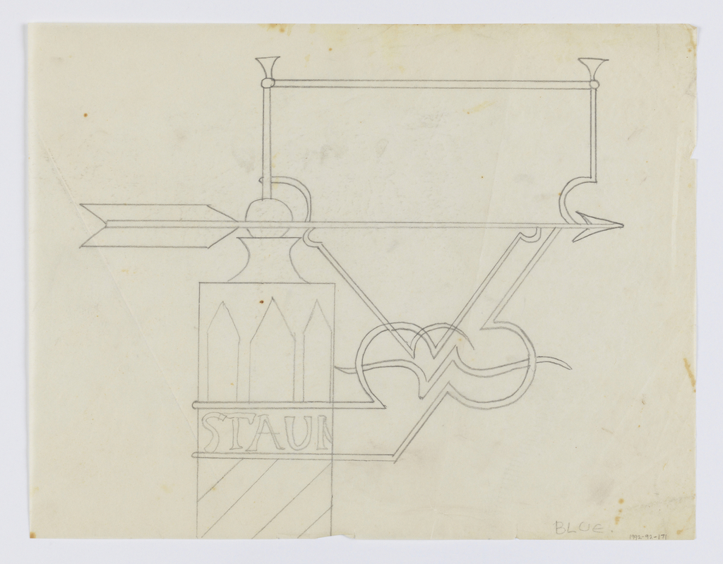 "Design for a signpost to be executed in iron. The post decorated with stripes and geometric forms, the partial text ""STAUN"" wrapping around it. Connected to the post via an elaborate curving bracket is a blank panel with an arrow pointing right."
