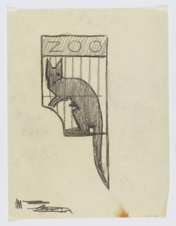 "Design for a signpost to be executed in iron for the Central Park Zoo. Within a bracket, a figure of a kangaroo within a cage, the word ""ZOO"" inscribed above. Scribbles at lower left."