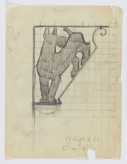 Design for a signpost to be executed in iron. Within the bracket, a figure of a dog standing on two legs.