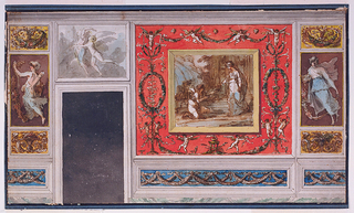 A fragment of an extensively decorated wall.The rendering occupies the entire sheet.  Above the space for the door opening is a representation of flying Eros and Psyche.  The lower part of the wall is treated as a dado, having friezes with two intertwined rows of festoons.  The main panel is an imaginary painting of Psyche, having won the favor of the goddess Ceres by arranging in due order the heaps of grain scattered in front of her temple.This panel appears to hang in front of a red panel, decorated with a motif of candelabra at left and right as well as with a motif of festoons with putti and satyrs, above and below.  Other smaller panels, to the left of the door opening and to the right of the main panel, contain images of Eros (left) and Psyche (right).