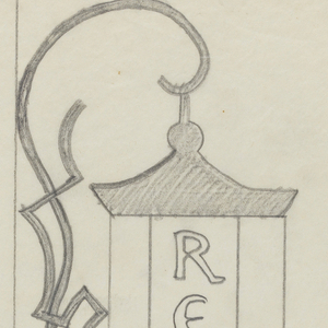 """Design for a signpost for the Central Park Zoo to be executed in iron. A layered bracket composed of organic forms connects to a sign panel, likely also a lantern, with the text """"RESTROOM"""" inscribed vertically."""