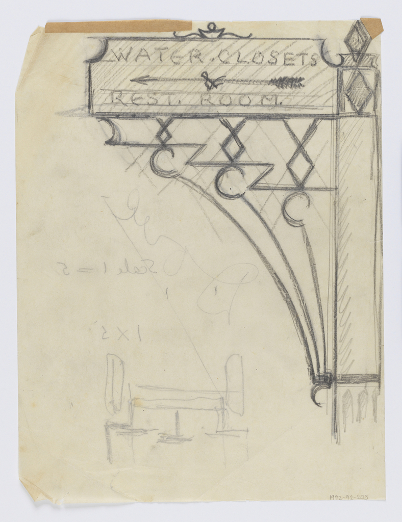 "Design for signpost to be executed in iron, ornamental bracket attached to post supports the sign, which reads ""WATER - CLOSETS / & / REST. ROOM."" with arrow pointing left."