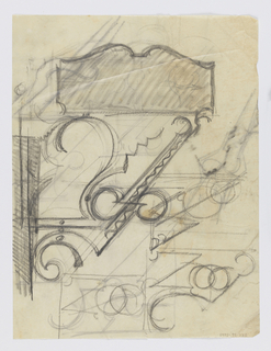 Design for signposts to be executed in iron. Various bracket and panel designs throughout sheet.