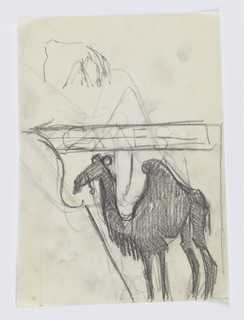 "Design for signpost to be executed in iron. Figure of a one-humped camel, facing left. Above, a sketchy arrow pointing left with the word ""CAMELS"" written horizontally."