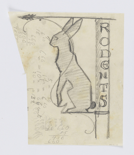 "Design for a signpost to be executed in iron. A bracket, the top of which forms an arrow pointing left, and the side of which spells ""RODENTS"" vertically. Within, a standing hare in profile, a serpentine curve superimposed over the animal. Calculations in graphite at left."