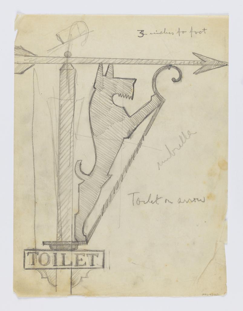 """Design for a signpost to be executed in iron. Bracket topped with an arrow pointing right, a sign with the word """"TOILET"""" on the post. Within the bracket, a figure of a dog standing on two legs."""