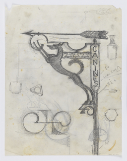 "Design for a signpost to be executed in iron. At the top of the bracket, an arrow pointing left, the word ""CANINES"" written vertically along the post, a figure of a dog connecting the elements. Additional sketches throughout the sheet."