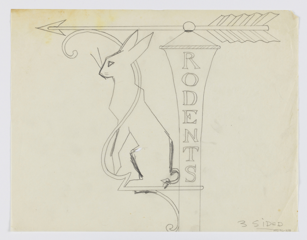 "Design for signpost for Central Park Zoo to be executed in iron. Upon the post, written vertically, the word ""RODENTS."" Above, an arrow pointing left. Acting as the bracket, a figure of a rabbit, facing left, an ornamental curving form surrounding the animal."