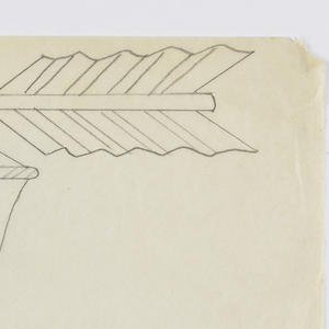 """Design for signpost for Central Park Zoo to be executed in iron. Upon the post, written vertically, the word """"RODENTS."""" Above, an arrow pointing left. Acting as the bracket, a figure of a rabbit, facing left, an ornamental curving form surrounding the animal."""