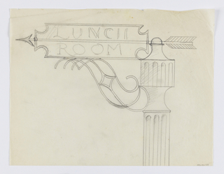 Design for a signpost to be executed in iron. Upon the post, a curving bracket connects to a a sign panel with arrow pointing left. Within the panel, the words: LUNCH / ROOM